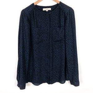 LOFT Navy Cheetah Print Buttondown Shirt